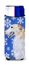 Borzoi Winter Snowflakes Holiday Ultra Beverage Insulators for slim cans SS4613MUK by Caroline's Treasures