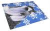 Schnauzer Winter Snowflakes Holiday Glass Cutting Board Large by Caroline's Treasures