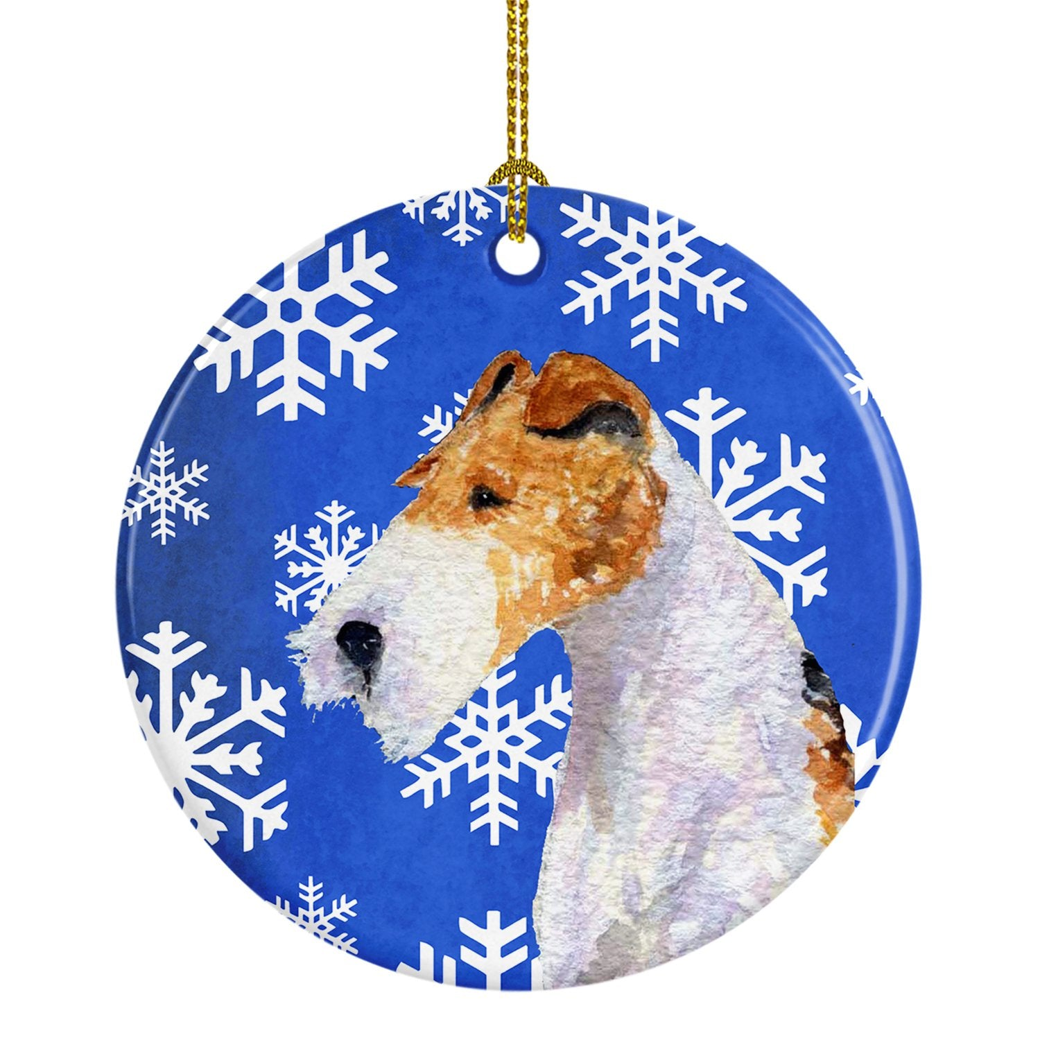 Buy this Fox Terrier Winter Snowflakes Holiday Christmas Ceramic Ornament SS4616