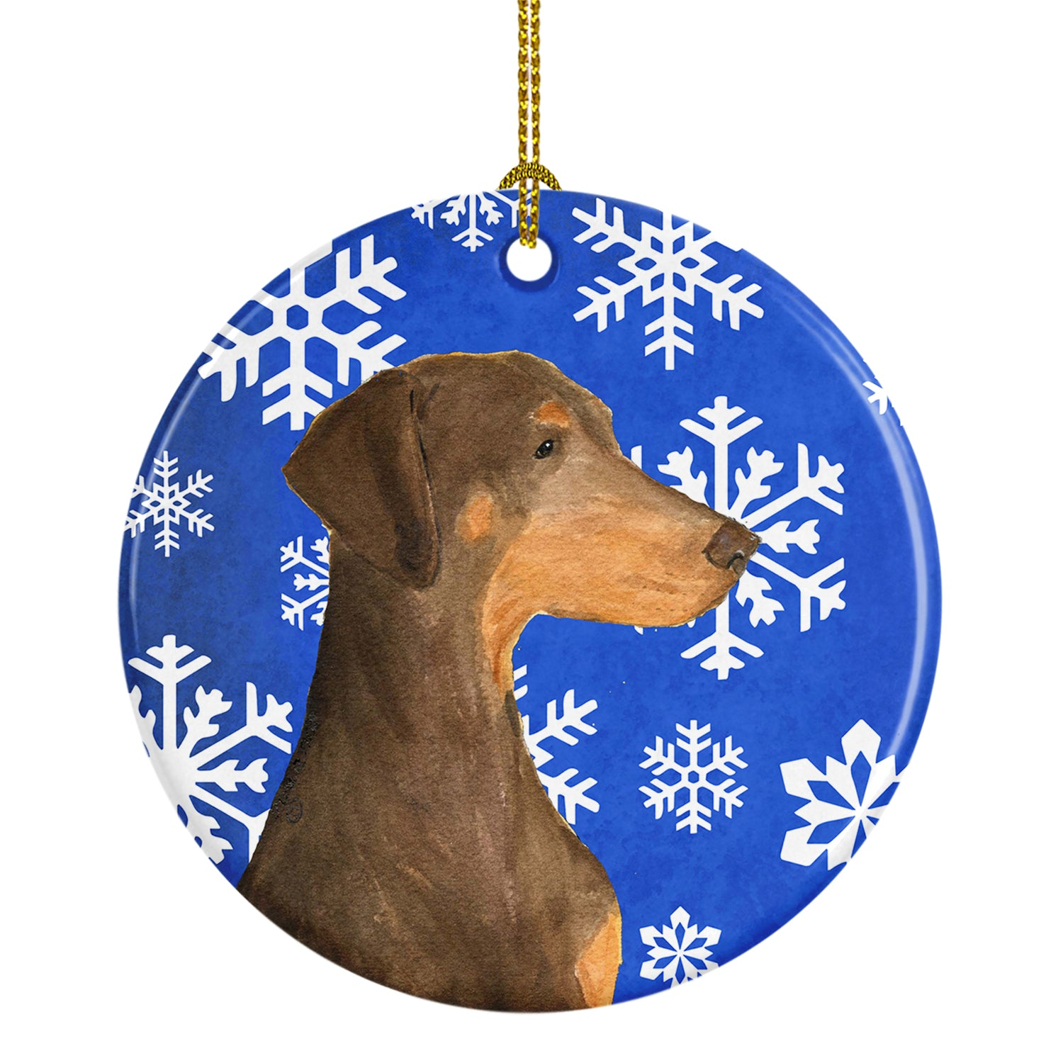 Doberman Winter Snowflakes Holiday Christmas Ceramic Ornament SS4617 by Caroline's Treasures
