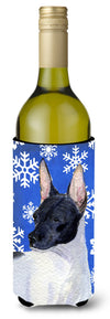 Buy this Rat Terrier Winter Snowflakes Holiday Wine Bottle Beverage Insulator Beverage Insulator Hugger