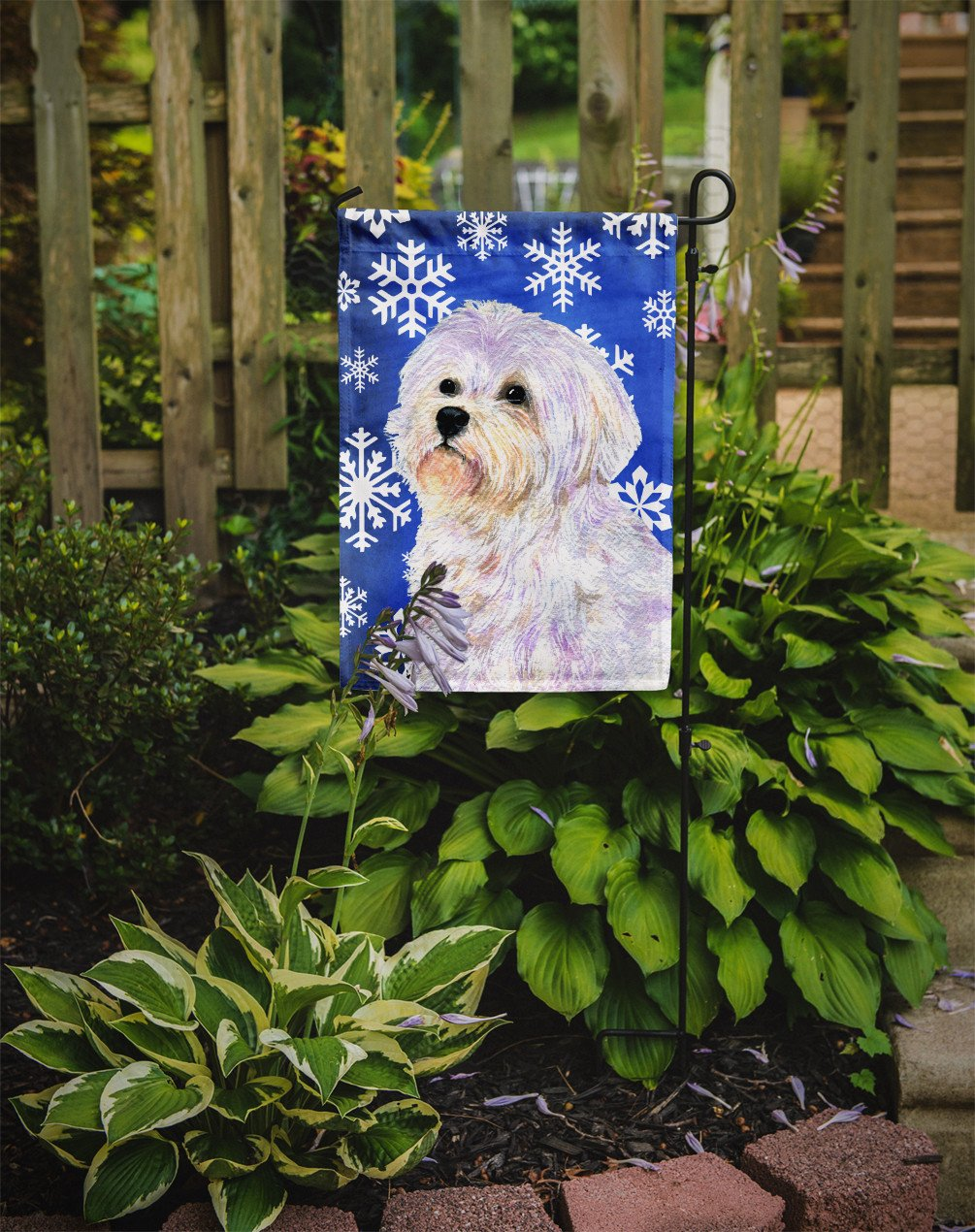Maltese Winter Snowflakes Holiday Flag Garden Size - the-store.com