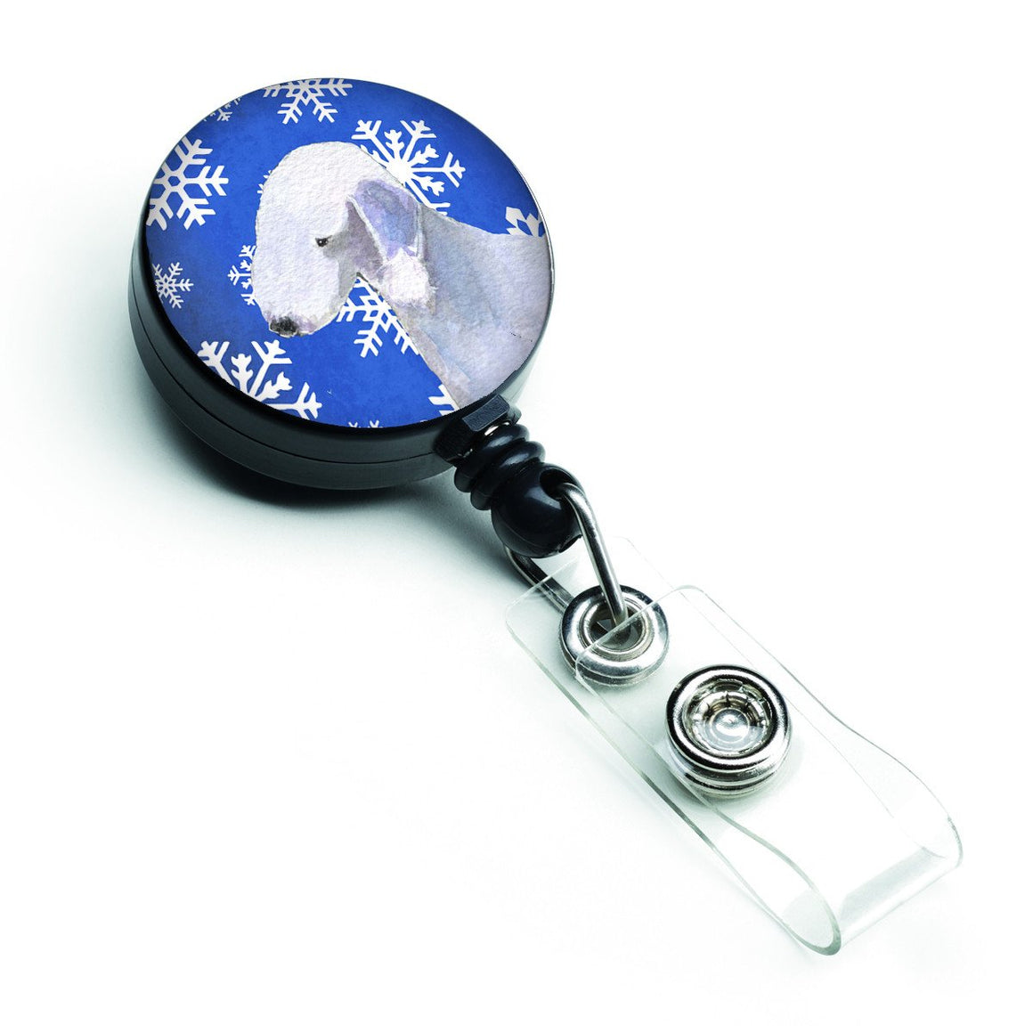 Buy this Bedlington Terrier Winter Snowflakes Holiday Retractable Badge Reel SS4621BR