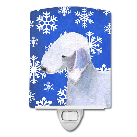 Buy this Bedlington Terrier Winter Snowflakes Holiday Ceramic Night Light SS4621CNL