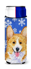 Corgi Winter Snowflakes Holiday Ultra Beverage Insulators for slim cans SS4624MUK by Caroline's Treasures
