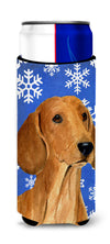 Dachshund Winter Snowflakes Holiday Ultra Beverage Insulators for slim cans SS4625MUK by Caroline's Treasures