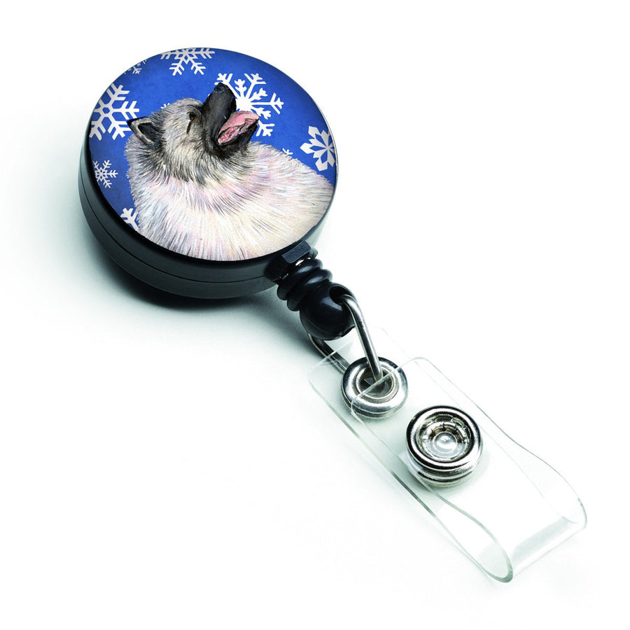 Buy this Keeshond Winter Snowflakes Holiday Retractable Badge Reel SS4626BR