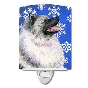Buy this Keeshond Winter Snowflakes Holiday Ceramic Night Light SS4626CNL