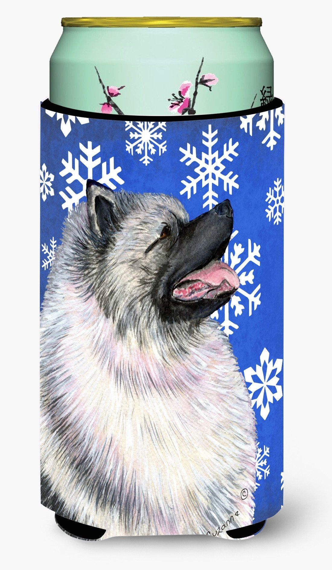 Keeshond Winter Snowflakes Holiday  Tall Boy Beverage Insulator Beverage Insulator Hugger by Caroline's Treasures