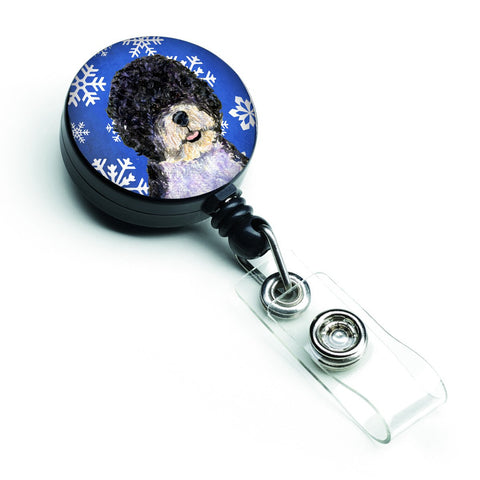 Buy this Portuguese Water Dog Winter Snowflakes Holiday Retractable Badge Reel SS4628BR