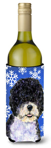 Buy this Portuguese Water Dog Winter Snowflakes Holiday Wine Bottle Beverage Insulator Beverage Insulator Hugger