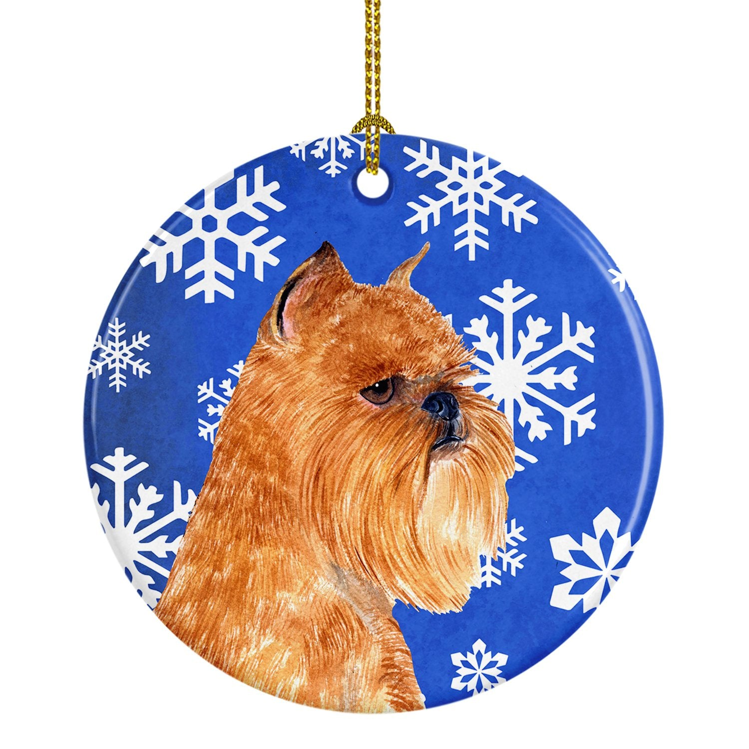 Brussels Griffon Winter Snowflakes Holiday Christmas Ceramic Ornament SS4632 by Caroline's Treasures
