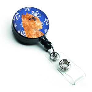 Buy this Brussels Griffon Winter Snowflakes Holiday Retractable Badge Reel SS4632BR