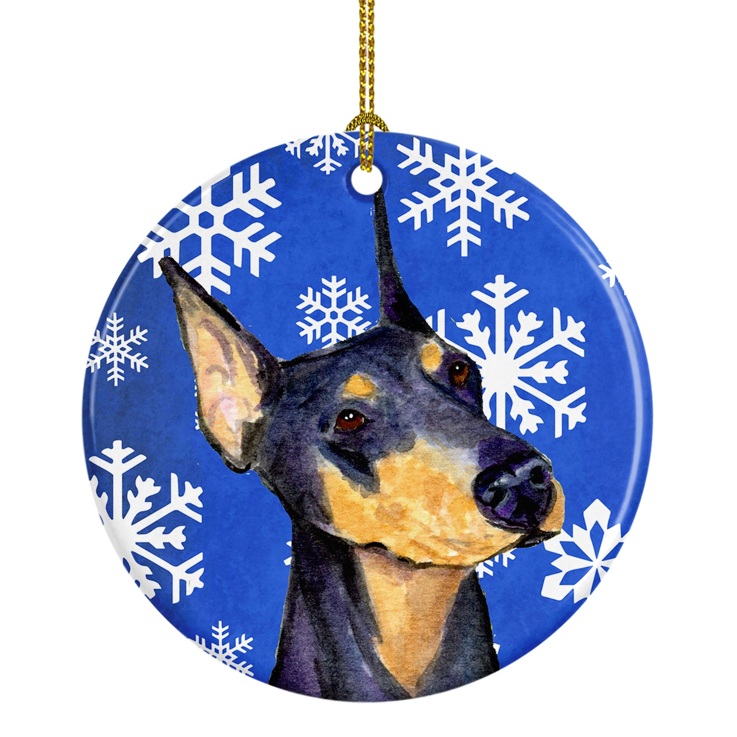 Doberman Winter Snowflakes Holiday Christmas Ceramic Ornament SS4633 by Caroline's Treasures