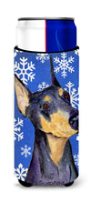 Doberman Winter Snowflakes Holiday Ultra Beverage Insulators for slim cans SS4633MUK by Caroline's Treasures