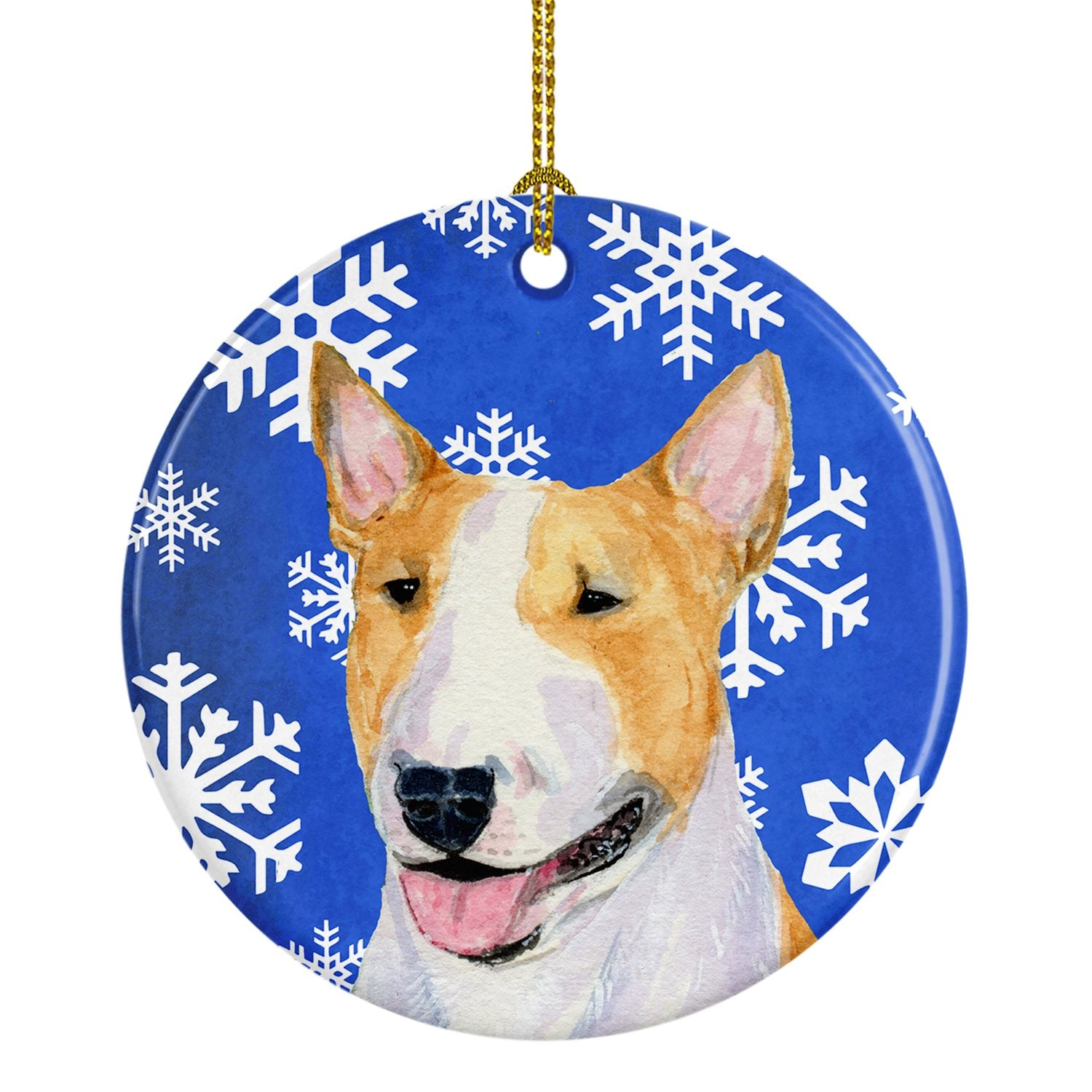 Bull Terrier Winter Snowflakes Holiday Christmas Ceramic Ornament SS4634 by Caroline's Treasures