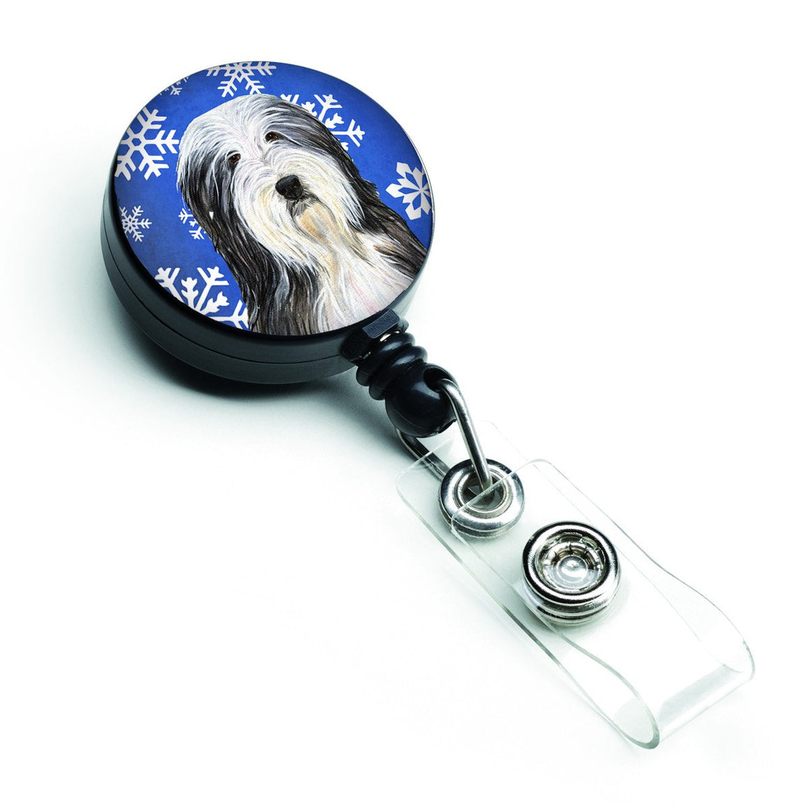 Buy this Bearded Collie Winter Snowflakes Holiday Retractable Badge Reel SS4635BR