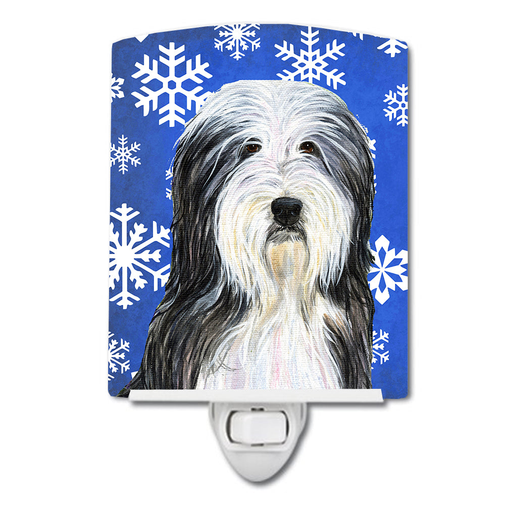 Buy this Bearded Collie Winter Snowflakes Holiday Ceramic Night Light SS4635CNL