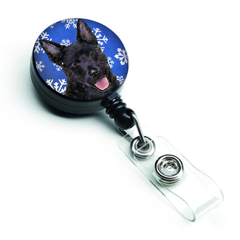 Buy this Australian Kelpie Winter Snowflakes Holiday Retractable Badge Reel SS4636BR