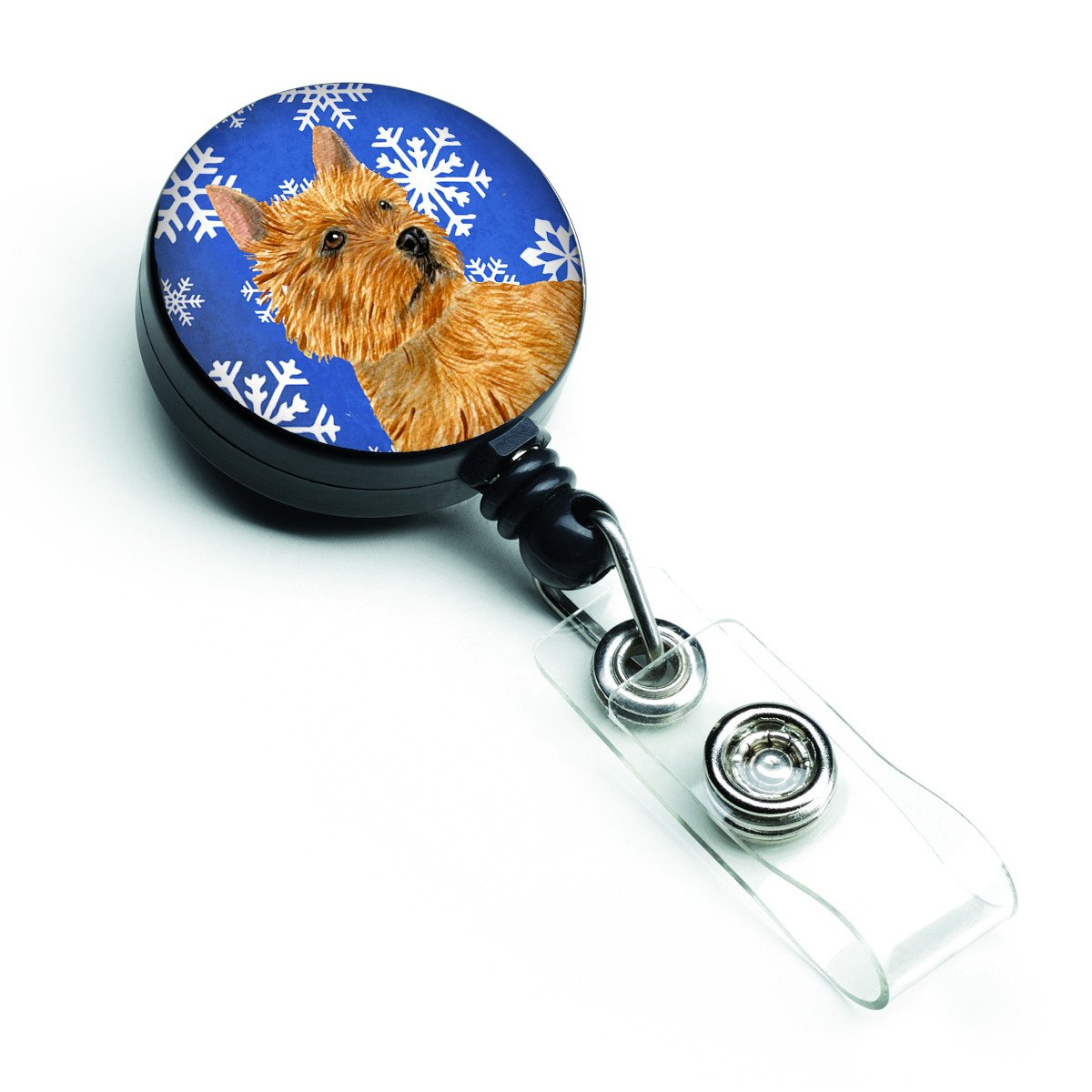 Norwich Terrier Winter Snowflakes Holiday Retractable Badge Reel SS4637BR by Caroline's Treasures