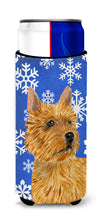 Norwich Terrier Winter Snowflakes Holiday Ultra Beverage Insulators for slim cans SS4637MUK by Caroline's Treasures