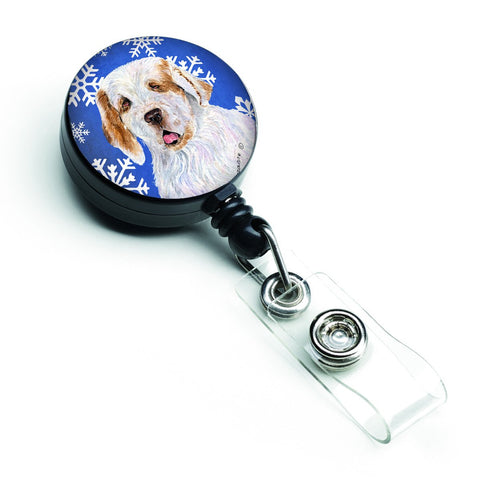 Buy this Clumber Spaniel Winter Snowflakes Holiday Retractable Badge Reel SS4638BR