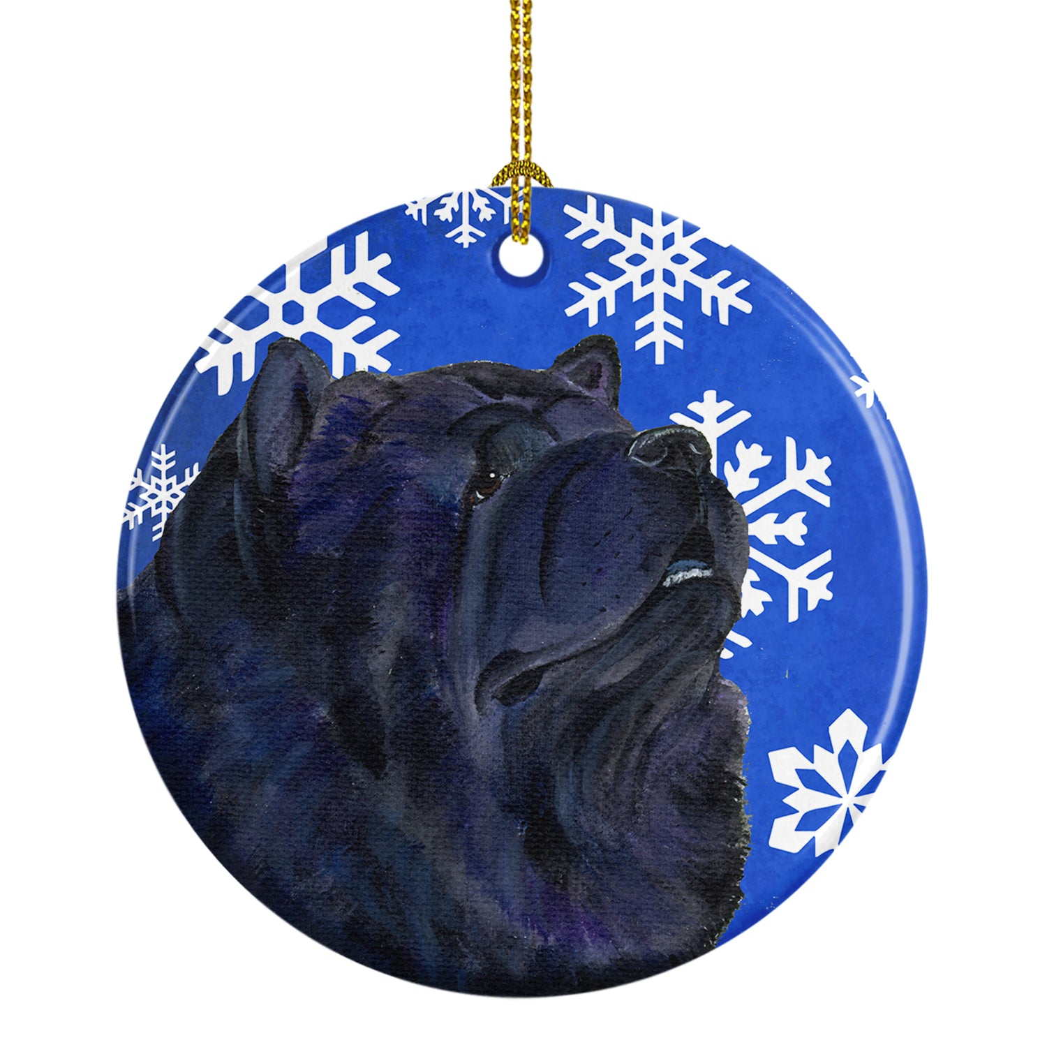 Chow Chow Winter Snowflakes Holiday Christmas Ceramic Ornament SS4639 by Caroline's Treasures