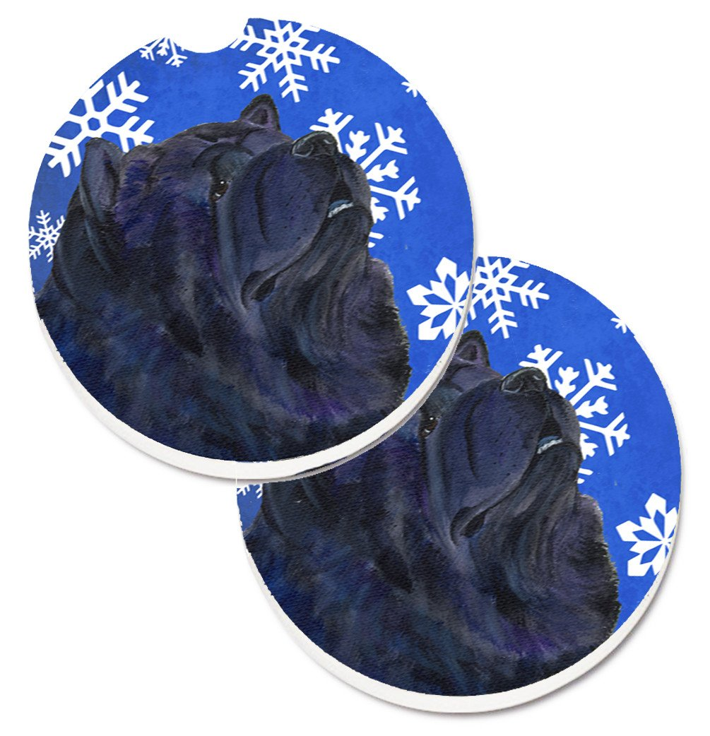 Buy this Chow Chow Winter Snowflakes Holiday Set of 2 Cup Holder Car Coasters SS4639CARC