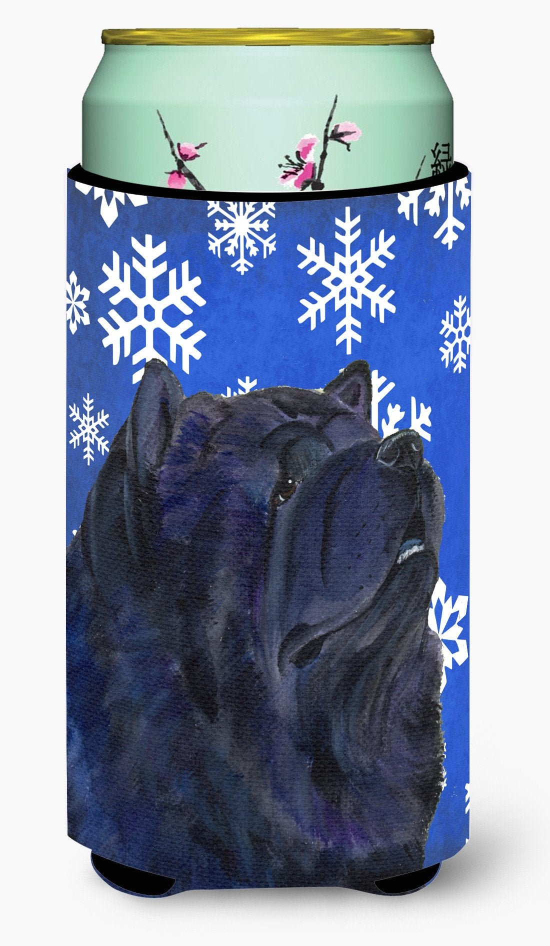 Chow Chow Winter Snowflakes Holiday  Tall Boy Beverage Insulator Beverage Insulator Hugger by Caroline's Treasures