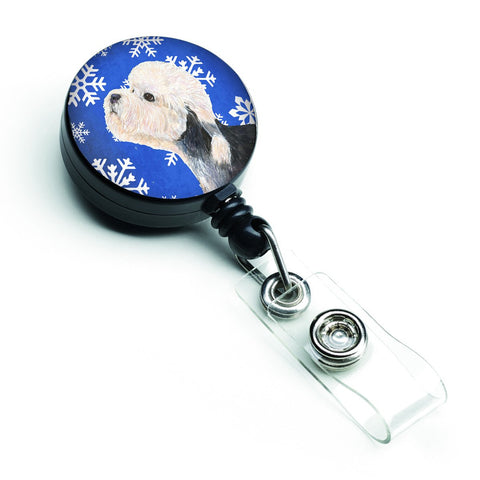 Buy this Dandie Dinmont Terrier Winter Snowflakes Holiday Retractable Badge Reel SS4641BR