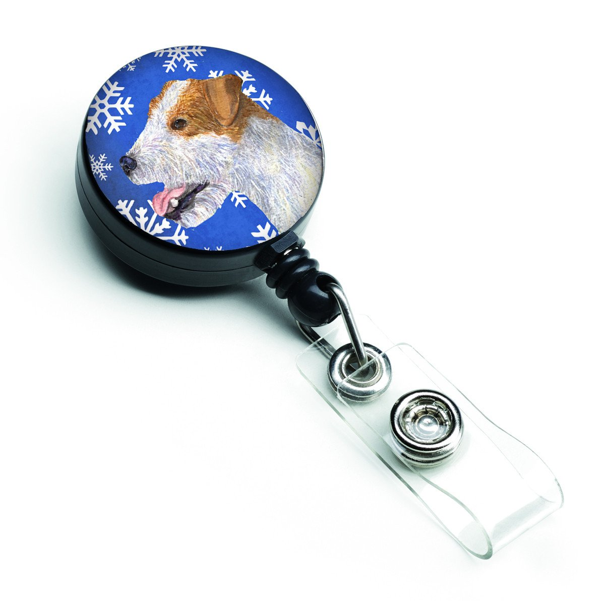 Jack Russell Terrier Winter Snowflakes Holiday Retractable Badge Reel SS4642BR by Caroline's Treasures
