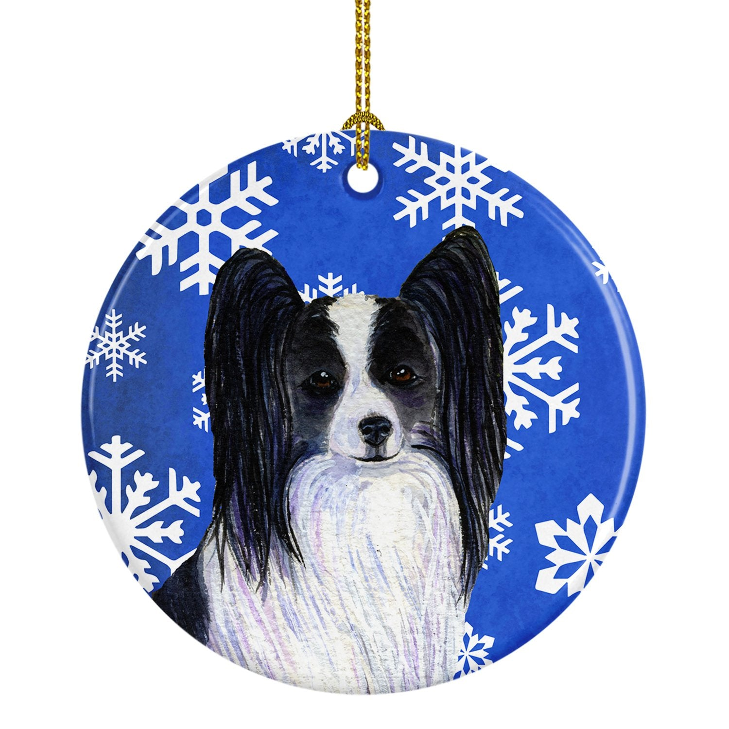 Papillon Winter Snowflakes Holiday Christmas Ceramic Ornament SS4643 by Caroline's Treasures