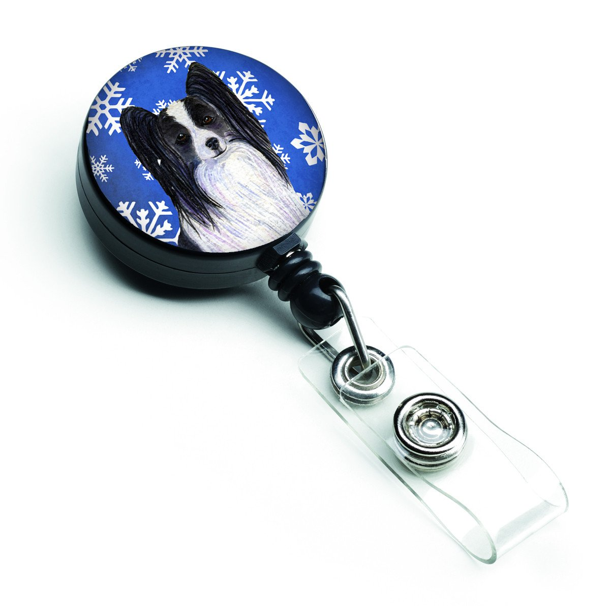 Papillon Winter Snowflakes Holiday Retractable Badge Reel SS4643BR by Caroline's Treasures