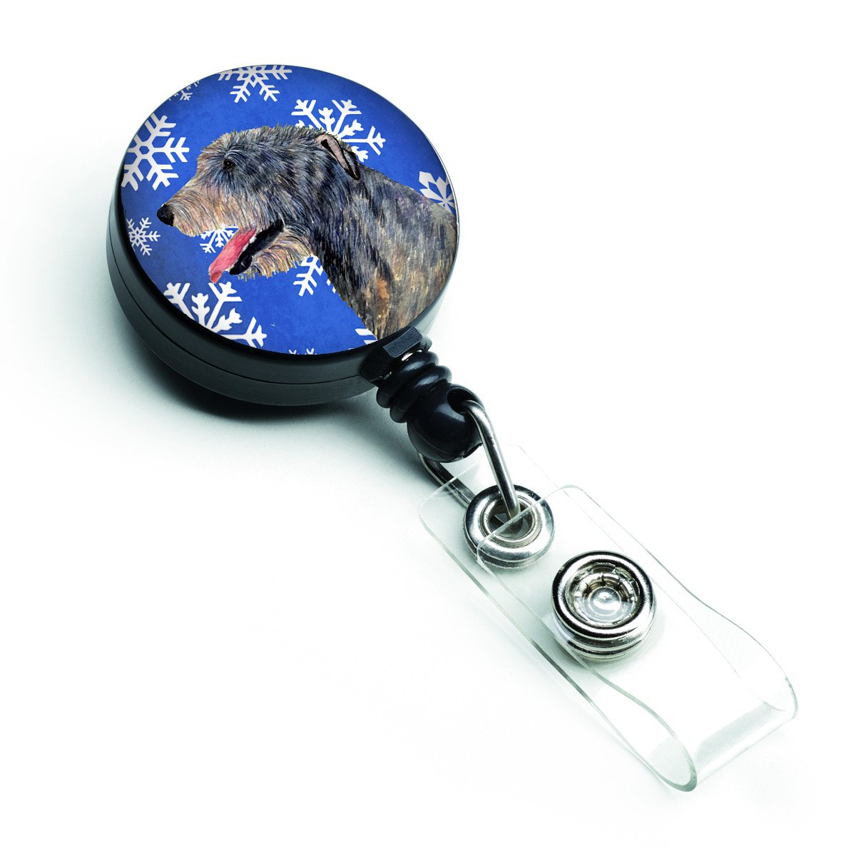 Irish Wolfhound Winter Snowflakes Holiday Retractable Badge Reel SS4644BR by Caroline's Treasures