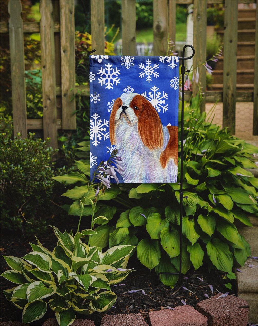 English Toy Spaniel Winter Snowflakes Holiday Flag Garden Size by Caroline's Treasures