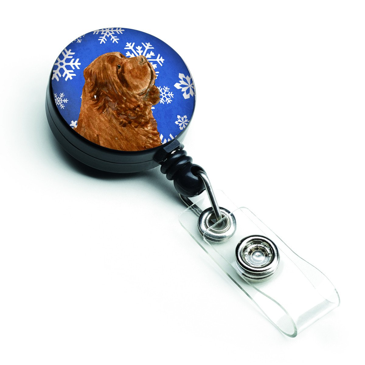 Sussex Spaniel Winter Snowflakes Holiday Retractable Badge Reel SS4648BR by Caroline's Treasures