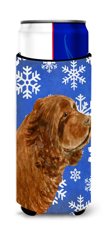 Buy this Sussex Spaniel Winter Snowflakes Holiday Ultra Beverage Insulators for slim cans SS4648MUK