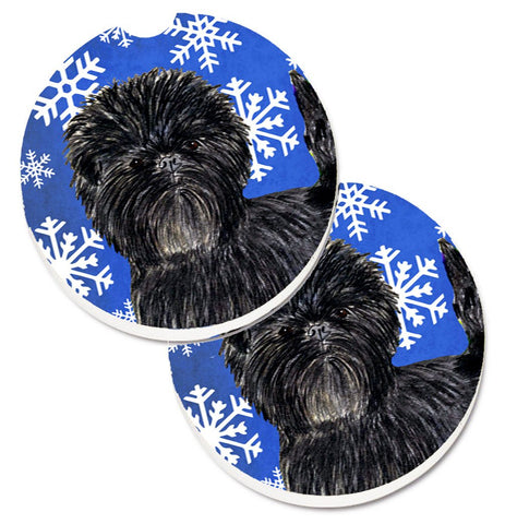 Buy this Affenpinscher Winter Snowflakes Holiday Set of 2 Cup Holder Car Coasters SS4649CARC