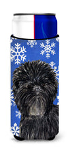 Affenpinscher Winter Snowflakes Holiday Ultra Beverage Insulators for slim cans SS4649MUK by Caroline's Treasures