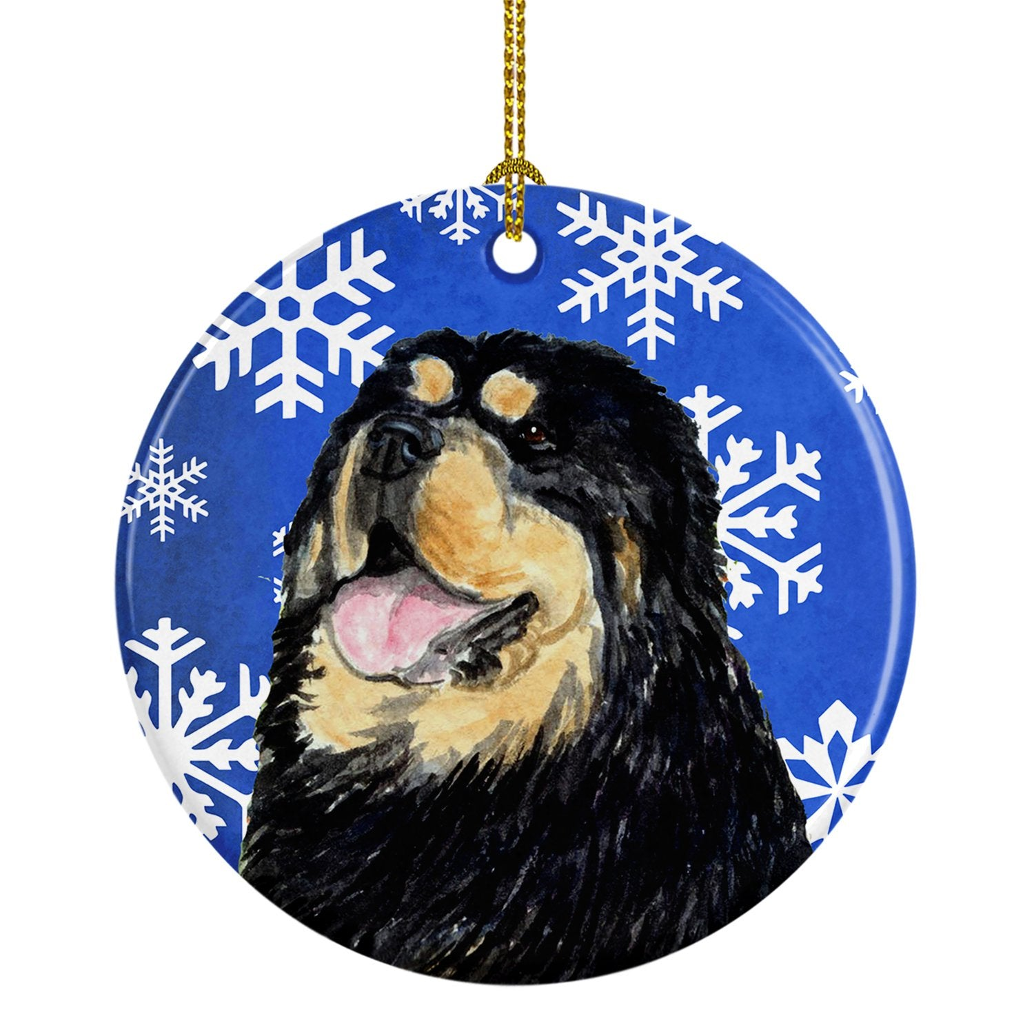 Tibetan Mastiff Winter Snowflakes Holiday Christmas Ceramic Ornament SS4650 by Caroline's Treasures