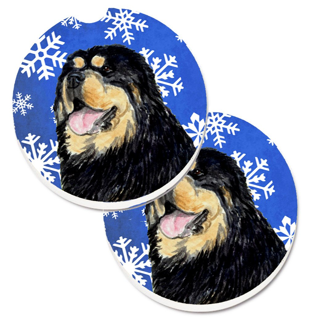 Tibetan Mastiff Winter Snowflakes Holiday Set of 2 Cup Holder Car Coasters SS4650CARC by Caroline's Treasures