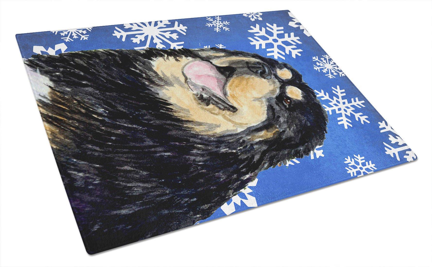 Tibetan Mastiff Winter Snowflakes Holiday Glass Cutting Board Large by Caroline's Treasures