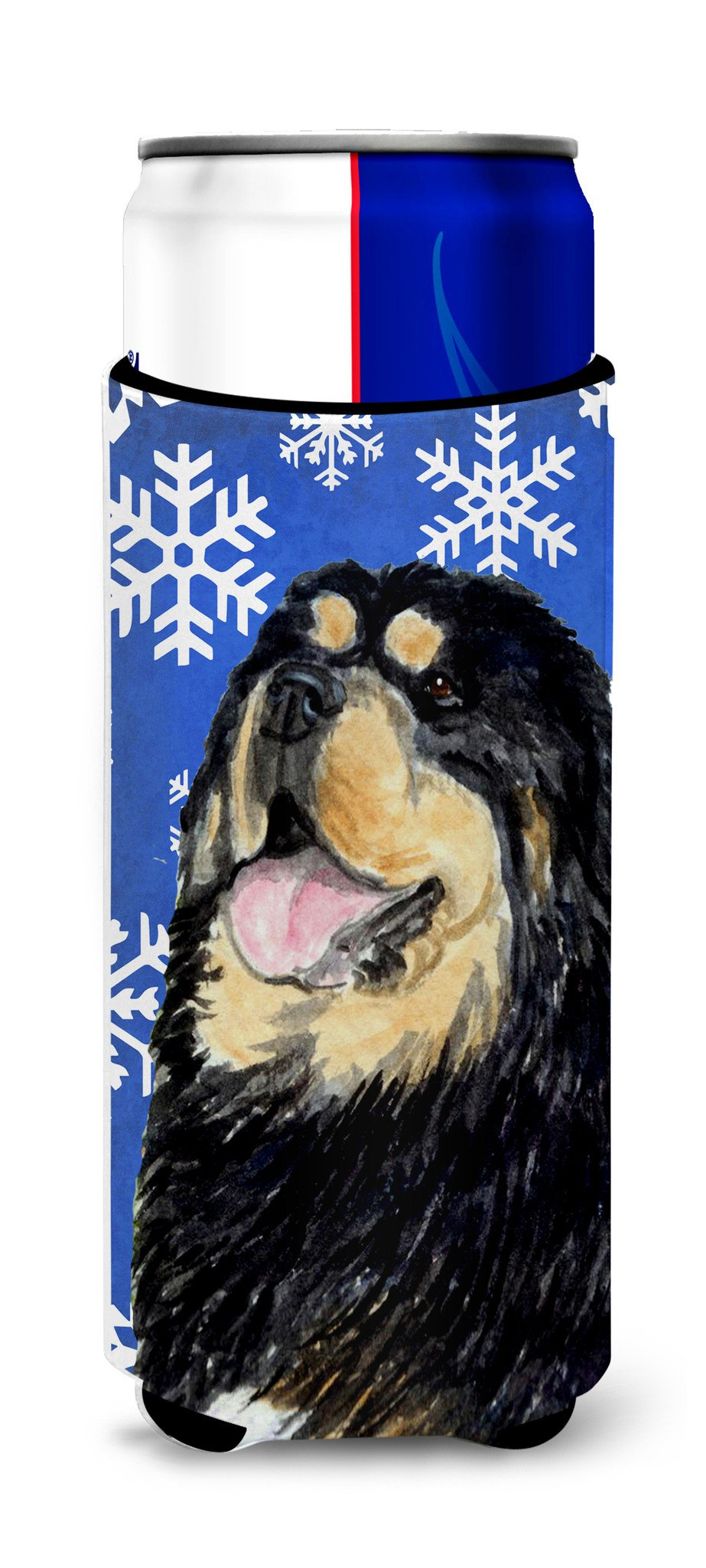 Tibetan Mastiff Winter Snowflakes Holiday Ultra Beverage Insulators for slim cans SS4650MUK by Caroline's Treasures