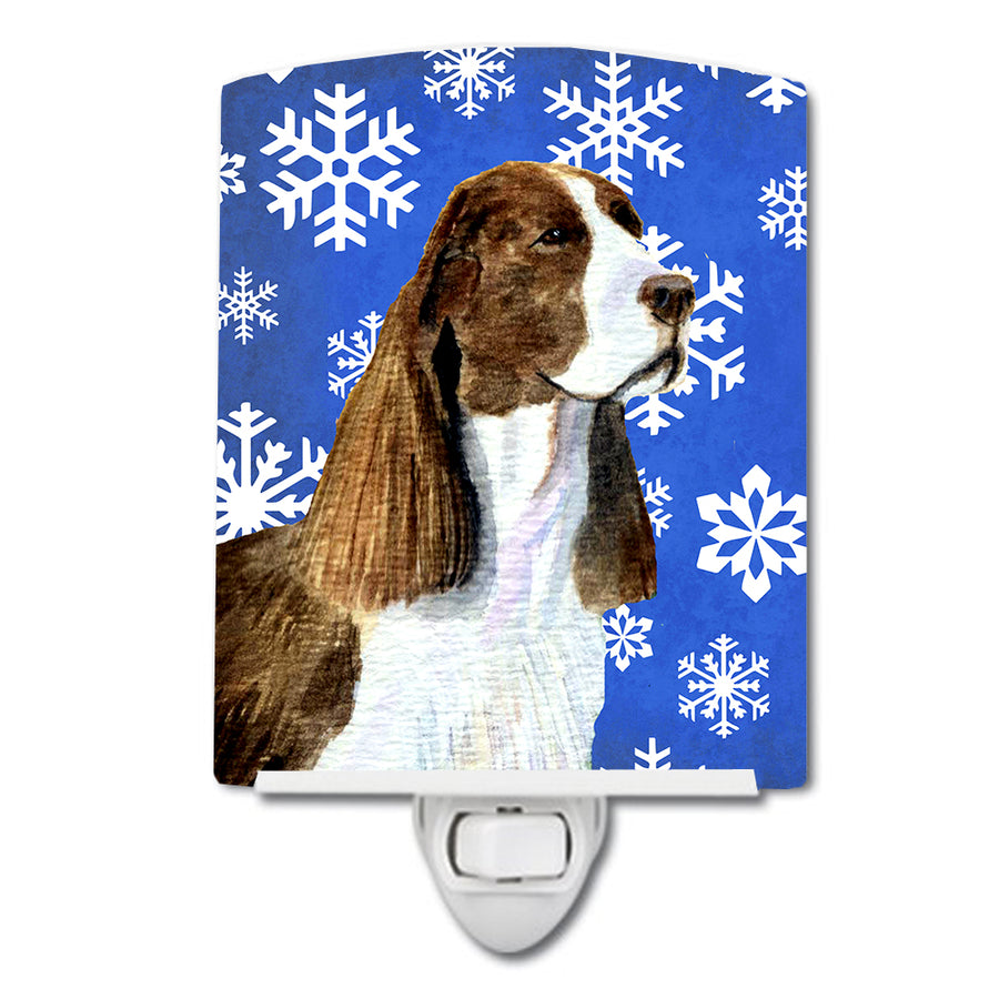 Buy this Springer Spaniel Winter Snowflakes Holiday Ceramic Night Light SS4651CNL