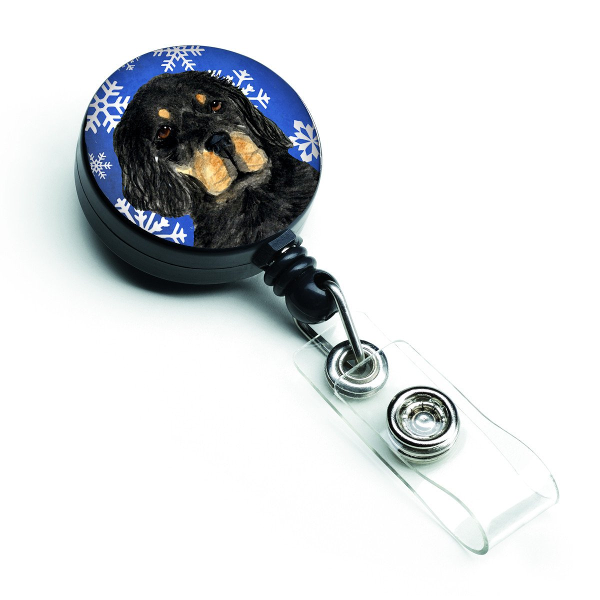 Gordon Setter Winter Snowflakes Holiday Retractable Badge Reel SS4653BR by Caroline's Treasures