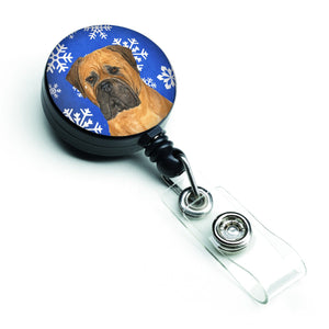 Buy this Bullmastiff Winter Snowflakes Holiday Retractable Badge Reel SS4655BR
