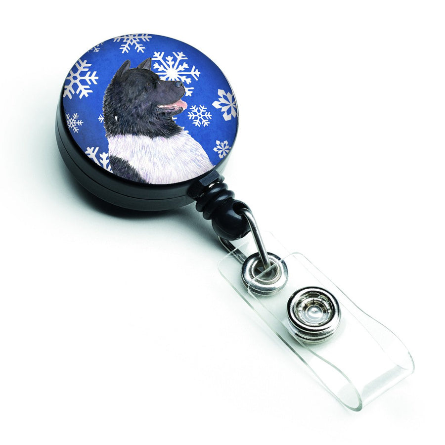 Buy this Akita Winter Snowflakes Holiday Retractable Badge Reel SS4659BR