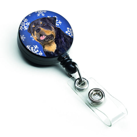 Buy this Rottweiler Winter Snowflakes Holiday Retractable Badge Reel SS4662BR