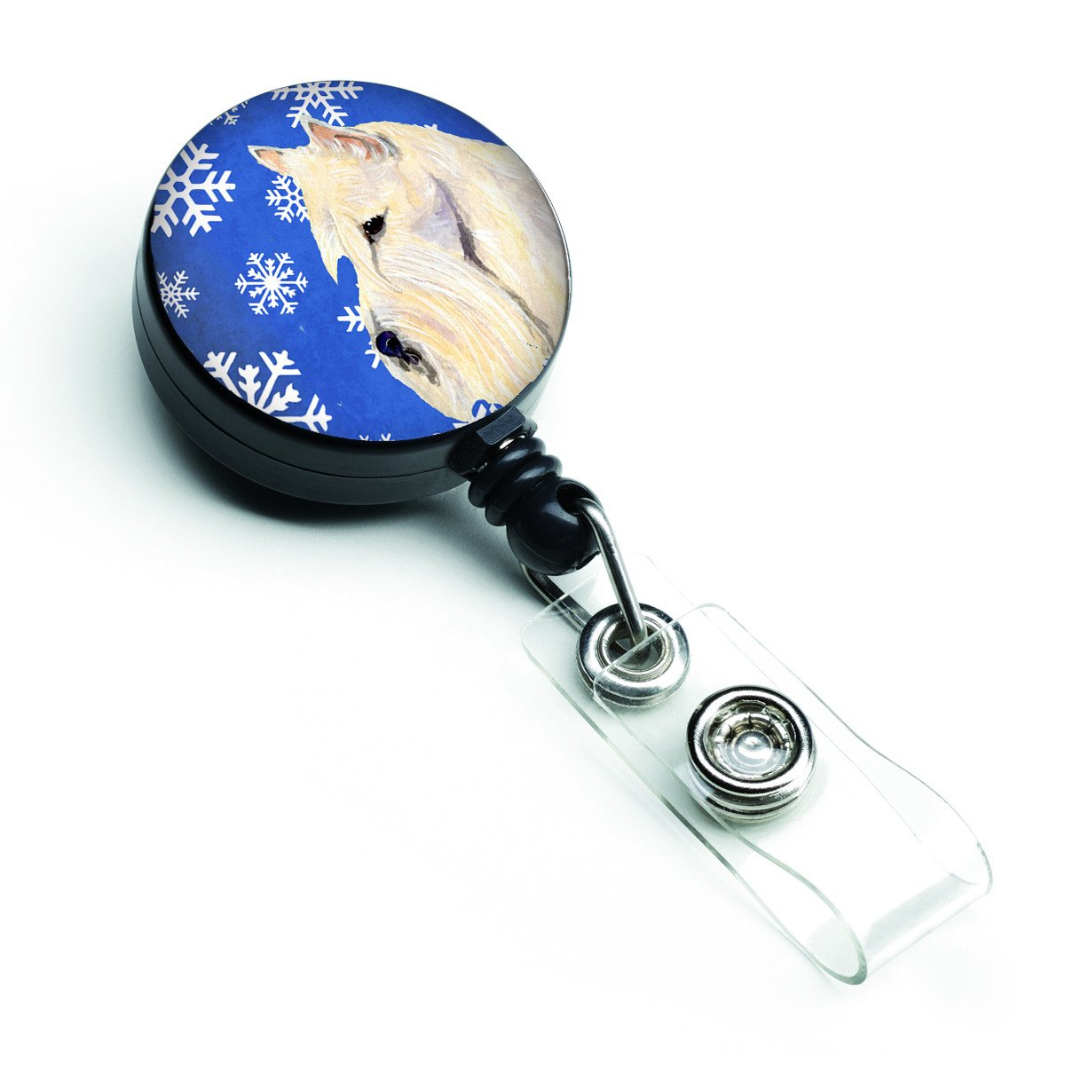 Scottish Terrier Winter Snowflakes Holiday Retractable Badge Reel SS4668BR by Caroline's Treasures