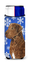 Chesapeake Bay Retriever Winter Snowflakes Holiday Ultra Beverage Insulators for slim cans SS4669MUK by Caroline's Treasures